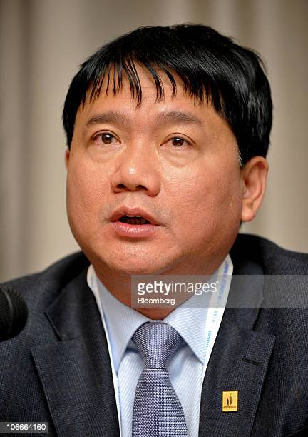 Dinh La Thang chairman of Vietnam Oil Gas Group speaks during a news conference at Seoul G20 Business Summit in Seoul South Korea on Wednesday Nov 10...