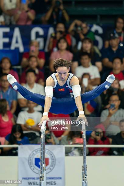Dinh Phuong Thanh from Vietnam takes the Gold in the Parallel Bars Mens Final of the Southeast Asian Games on December 04 2019 in Manila Philippines