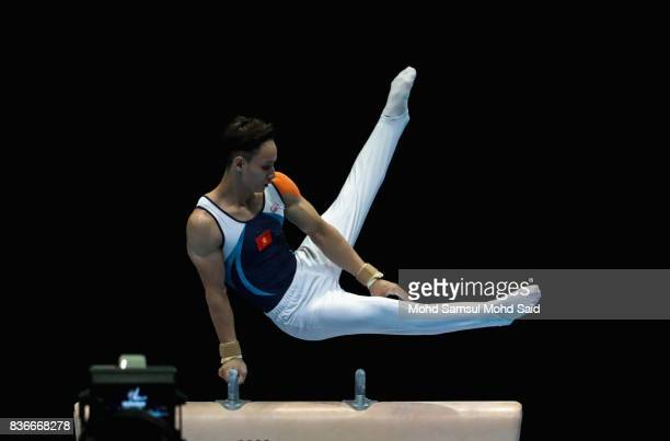 Dinh Phuong Thanh of Vietnam in action during Men artistic gymnastic pommel horse event final during the 29th Southeast Asian Games on August 22 2017...