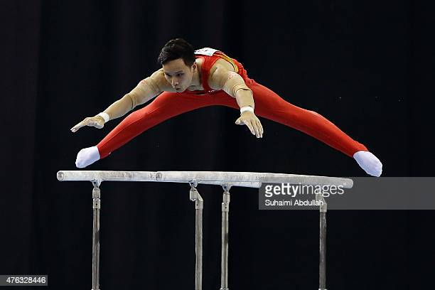 Dinh Phuong Thanh of Vietnam in action during the parallel bar event in the men's gymnastic individual allaround final at the Bishan Sports Hall...