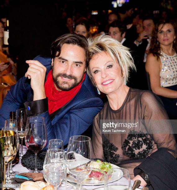 Dinho Diniz and Ana Maria Braga attend the 2014 amfAR's Inspiration Gala Sao Paulo on April 4 2014 in Sao Paulo Brazil