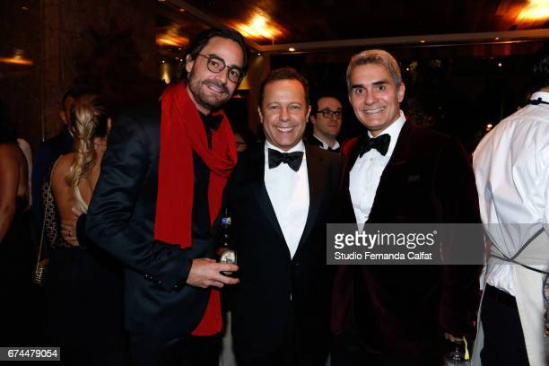 Dinho Diniz Vik Muniz and Felipe Diniz attend the 7th Annual amfAR Inspiration Gala on April 27 2017 in Sao Paulo Brazil