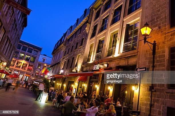 dining along rue saint vincent in old montreal, quebec - vieux montréal stock pictures, royalty-free photos & images
