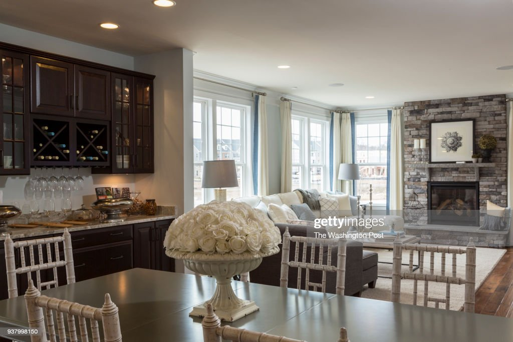 dining area and living room in the lindsey model home at bradley