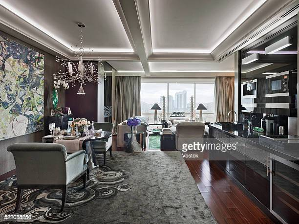 Dining area in the City Apartment in Moscow
