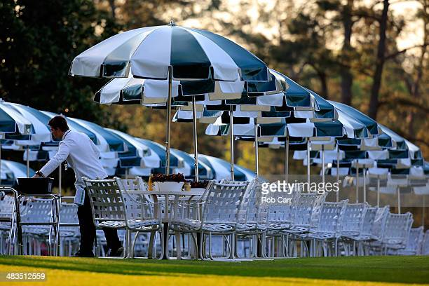 A dining area is seen near the clubhouse during a practice round prior to the start of the 2014 Masters Tournament at Augusta National Golf Club on...