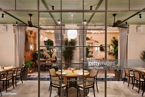 Dining area of Mortimer House, Fitzrovia. Mortimer House, Fitzrovia, United Kingdom. Architect: AvroKO, 2018..