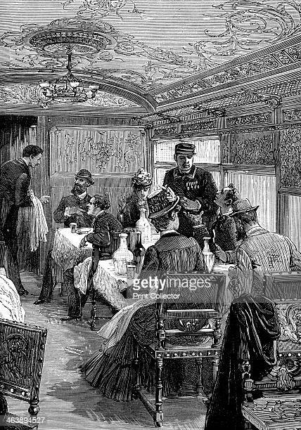 Dining car on the Orient Express c1885 Wood engraving published Paris