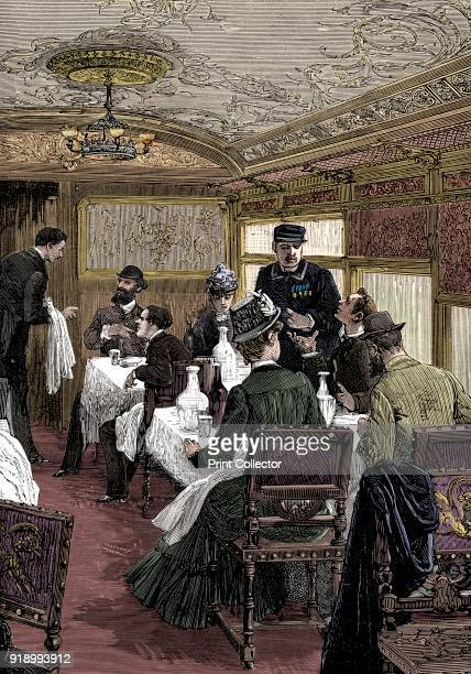 Dining car on the Orient Express c1885 Wood engraving published Paris Artist Unknown