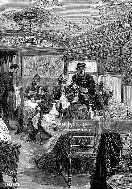 Dining car on the Orient Express Wood engraving published Paris c1885