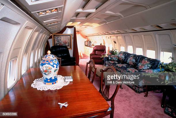 Dining living area of home of beautician Jo Ann Ussery which is converted Boeing 727 fuselage