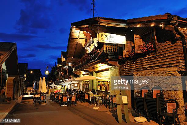dining out in leysin, switzerland - leysin stock photos and pictures