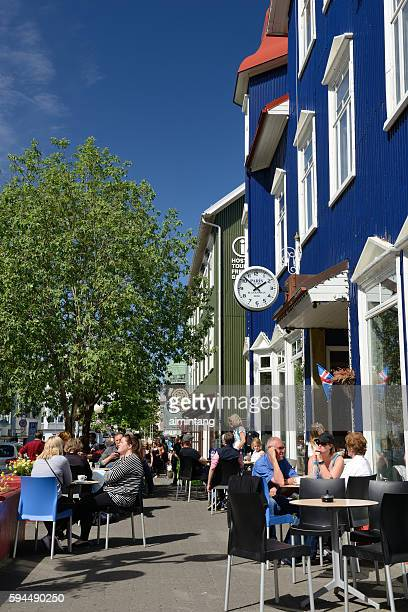 Dining outdoor in downtown Akureyri of Iceland