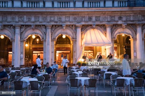 Dining outdoors at the lavish Gran Caffe Quadri in Venice