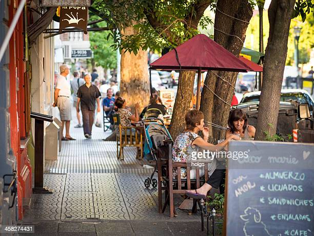 dining outdoors, buenos aires - palermo buenos aires stock photos and pictures