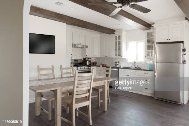 dining room and kitchen interior - kitchen stock pictures, royalty-free photos & images