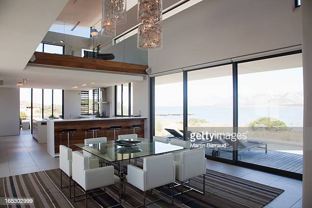 Dining room and open floor plan in modern house