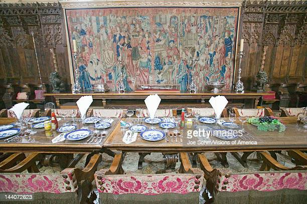 Dining Room and table settings at Hearst Castle America's Castle San Simeon California