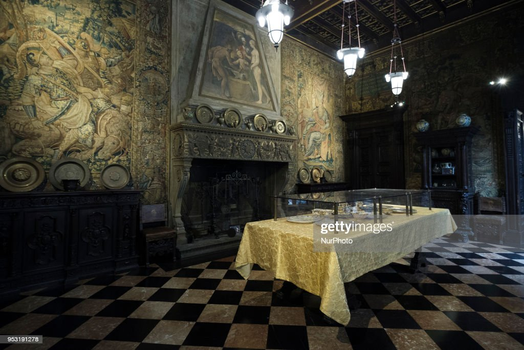 Dining Room at the Bagatti Valsecchi in Milan, Italy, on 30 April, 2018. The wall covering in this room is made up of four large panels derived from a pair of tapestries, woven in Brussels around 1570, depicting the life of the Persian king, Cyrus. The Bagatti Valsecchi Museums collections principally contain Italian Renaissance decorative arts some sculptures. European Renaissance weapons, armor, clocks and a few textiles and scientific complete the collection assembled by the Barons Bagatti Valsecchi, and displayed in their home, as per their wishes.