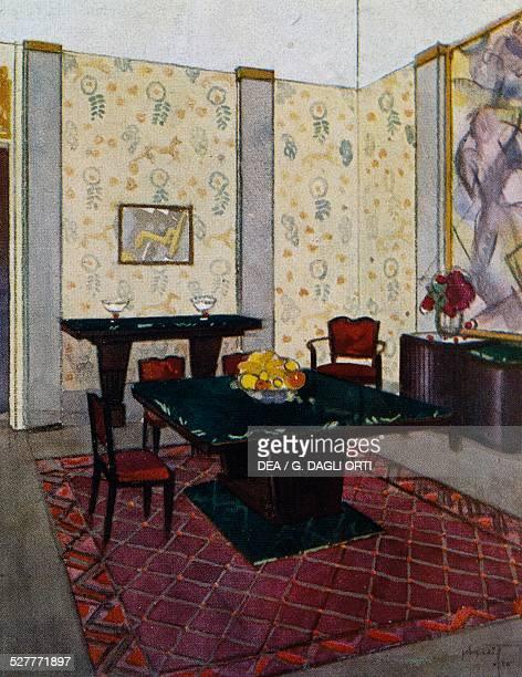 Dining room for the Ambassade de France by Rene Joubert Philippe Petit and Chevalier for DIM France 20th century Paris Bibliothèque Des Arts...