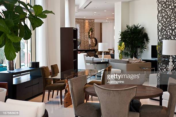 dining room in a furniture showroom - showroom stock pictures, royalty-free photos & images