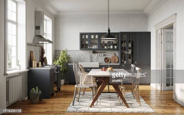 dining room in a modern kitchen - domestic kitchen stock pictures, royalty-free photos & images