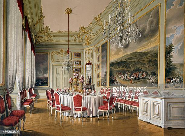 Dining room in the Imperial Apartments Schoenbrunn Palace Vienna Austria print 19th century