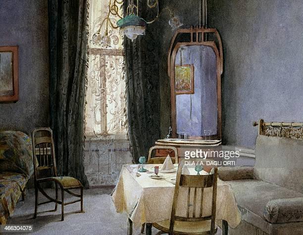 Dining room in Vienna watercolour by Carl Wenzel Zajicek