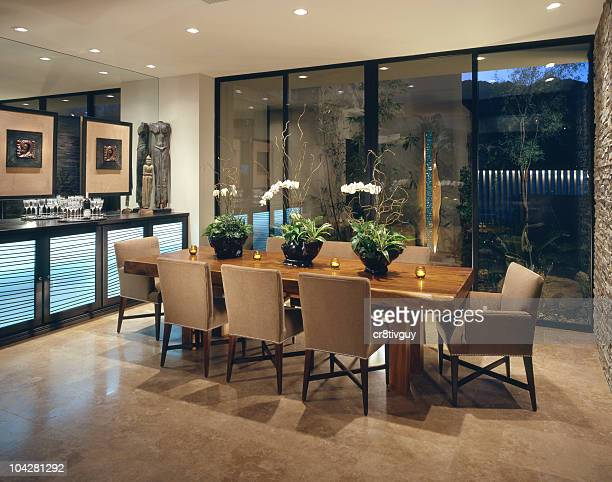 dining room interior home design - dining room stock pictures, royalty-free photos & images