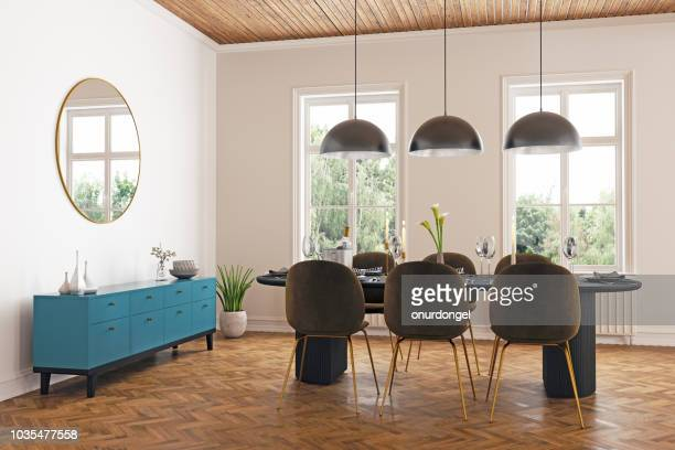 dining room interior - dining room stock pictures, royalty-free photos & images