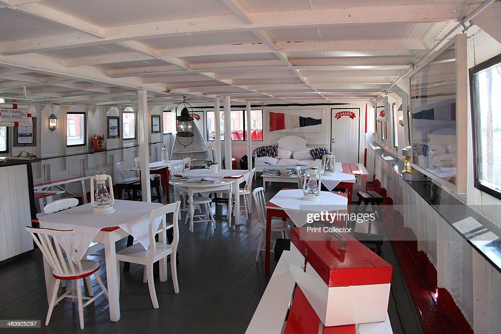 Dining room on board the lightship 'Relandersgrund', Helsinki, Finland, 2011. Artist: Sheldon Marshall : News Photo