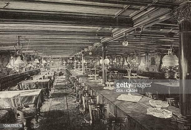 Dining room on steamers Duchessa di Genova, Vittoria and Duca di Galliera owned by the Italian company La Veloce, engraving from L'Illustrazione...