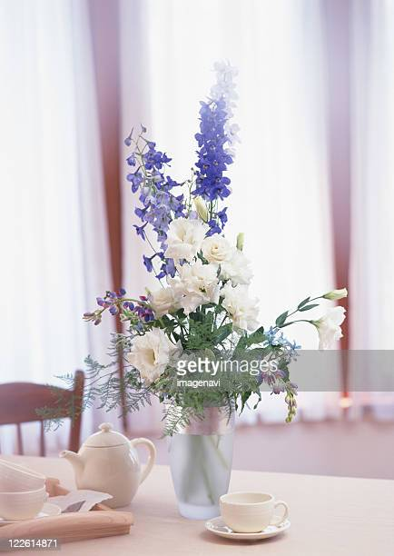 dining room - delphinium stock pictures, royalty-free photos & images