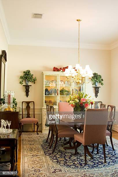 dining room - persian rug stock photos and pictures