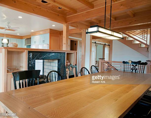 dining room table - prairie school lamp - oak wood material stock photos and pictures