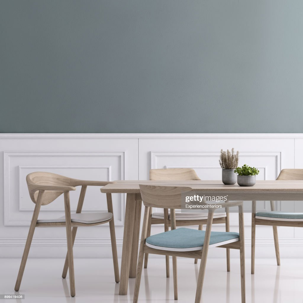 Dining Room Wall Background Template Stock Photo