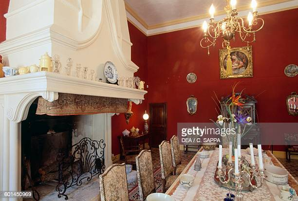 Dining room with fireplace Sauvan castle ProvenceAlpesCote d'Azur France 18th century