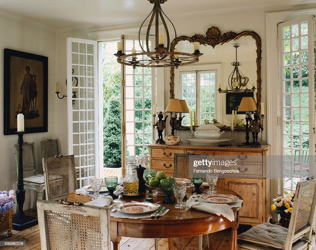 Dining Room With French Doors To Terrace High Res Stock Photo Getty Images