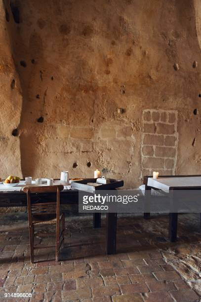 Dining rooms of the hotel Le Grotte della Civita It is a hotel housed in ancient cave houses by the projects of 'Sextantio' Matera Basilicata Italy...