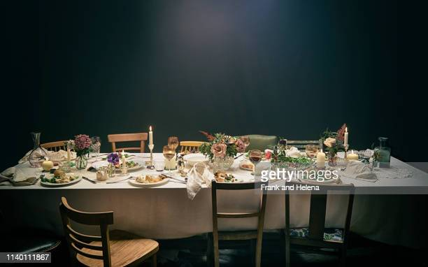 dining table and chairs - still life not people stock photos and pictures