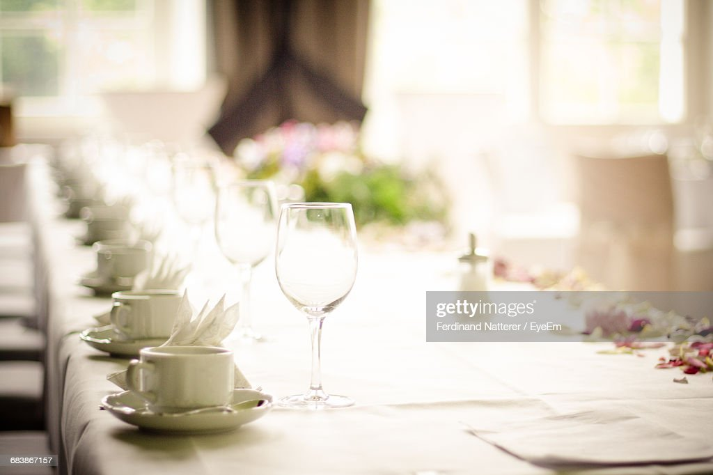 Dining Table Arrangement At Wedding Reception Stock Photo Getty Images