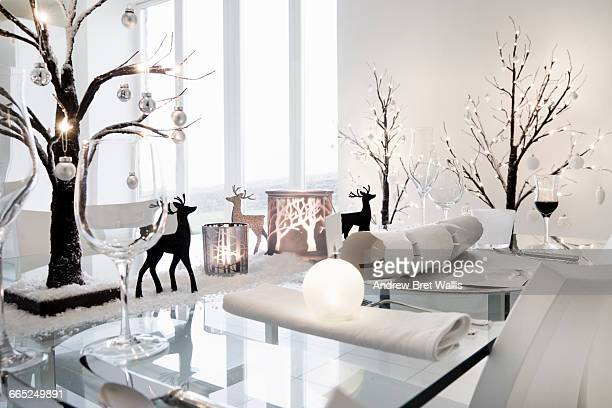 Dining table decorated in a winter seasonal theme
