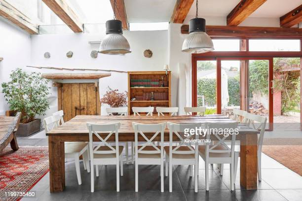 dining table in a spanish farmhouse - farmhouse stock pictures, royalty-free photos & images