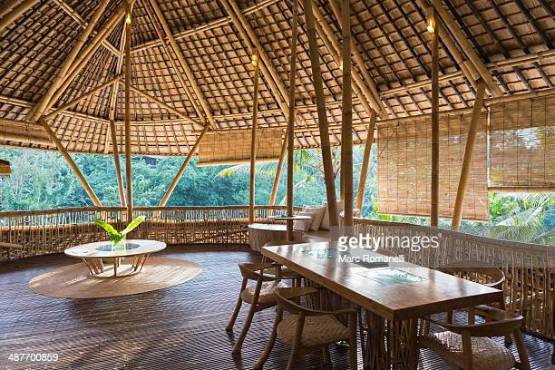 Dining table in bamboo room