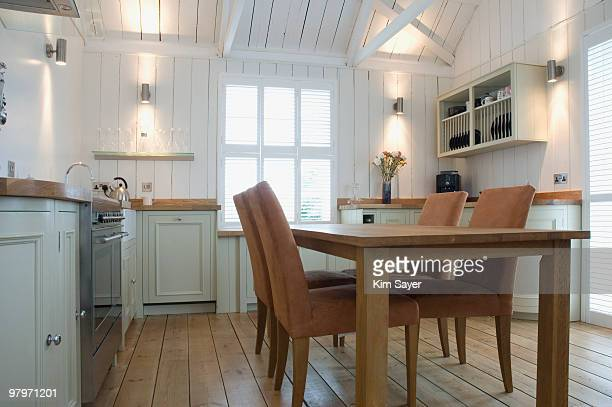 Dining table in domestic kitchen