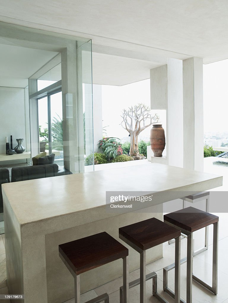 Dining Table In Luxury Studio Apartment High Res Stock Photo