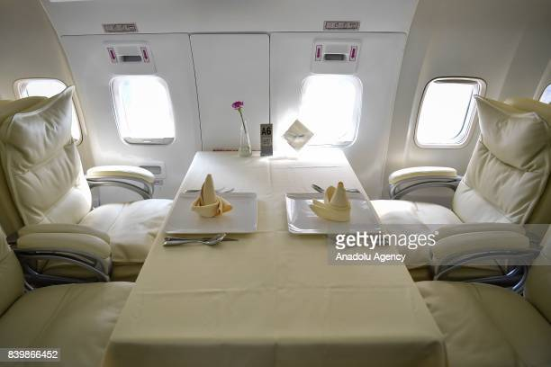 A dining table is seen inside of a Boeing 737 which is used for a restaurant at Guanggu Walking Street in Wuhan of Hubei Province China on August 27...