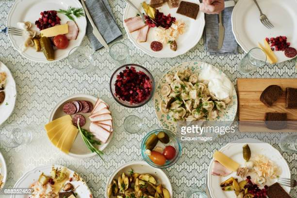 dining table on russian family feast - cliqueimages stock pictures, royalty-free photos & images