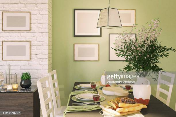 dining table - dining room stock pictures, royalty-free photos & images