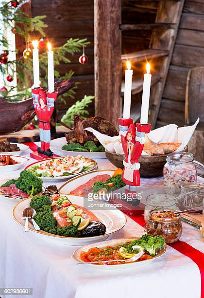 Dining table prepared for Christmas dinner